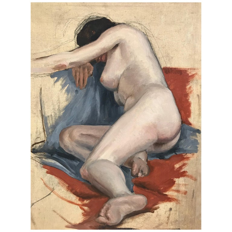 Midcentury Nude Study Painting 1938 For Sale