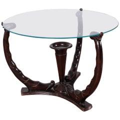 Midcentury O. Borsani Wood Circular Coffee Table Glass Top, 1950s, Italy