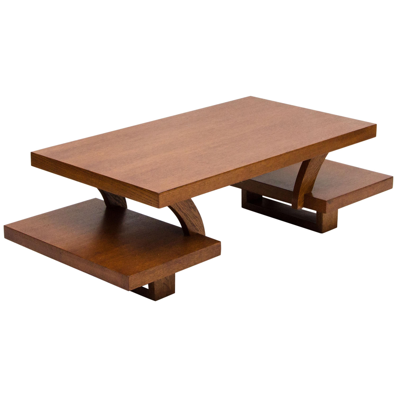 Midcentury Oak Bi-Level Coffee Table, Paul Laszlo Style
