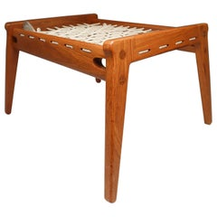 "Midcentury Oak ""Hunting"" Ottoman, Stool from Germany, circa 1960"
