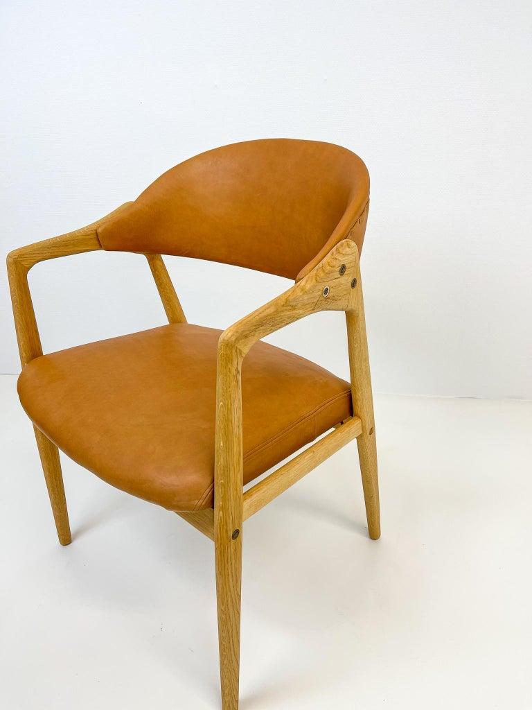 Midcentury Oak-Leather Desk Chair