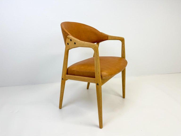 Mid-Century Modern Midcentury Oak-Leather Desk Chair