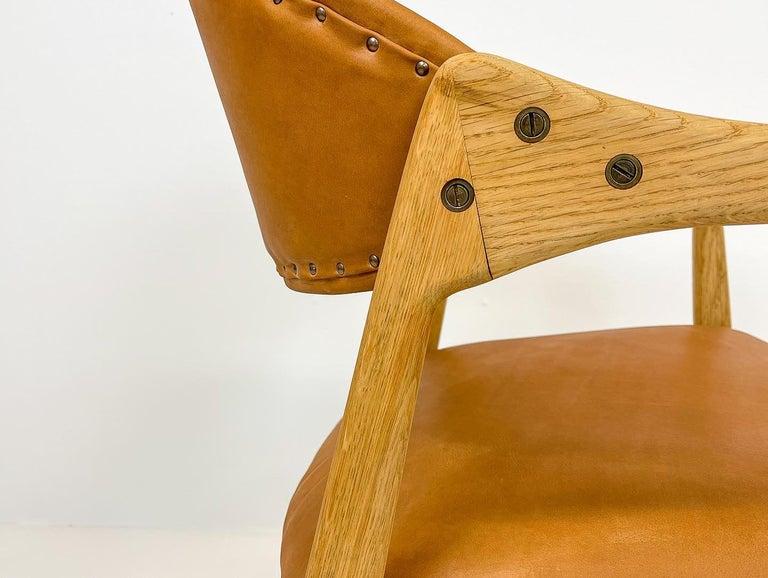 Swedish Midcentury Oak-Leather Desk Chair