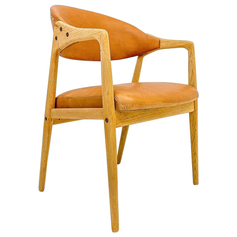 "Midcentury Oak-Leather Desk Chair ""Puck"" Gemla Furniture Yngve Ekström Sweden 56"