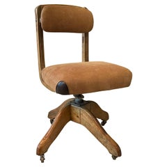Midcentury Oak Office and Suede Desk Chair by DoMore