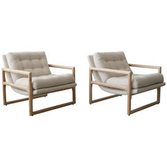 Midcentury Oak Scoop Lounge Chairs by Milo Baughman