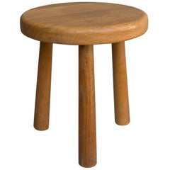 Midcentury Oak Stool in Style of Charlotte Perriand, France 1950s