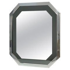 Midcentury Octagonal Italian Mirror with Smoked Mirror and Chromed Frame, 1980s