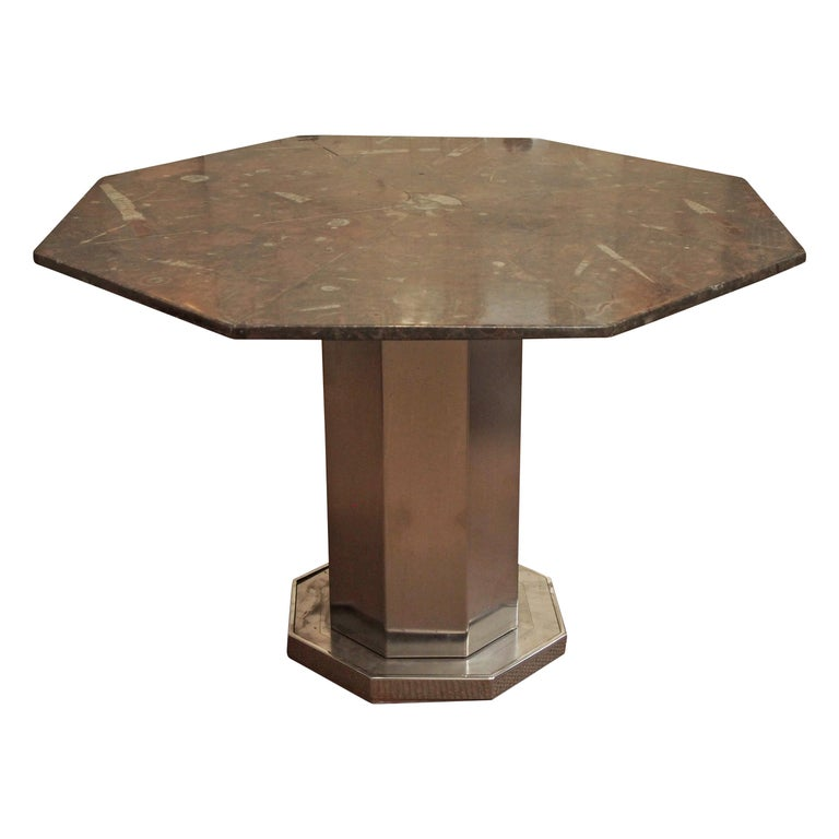 Midcentury Octagonal Table of Fossil Marble with Metal Base, Origin of France For Sale