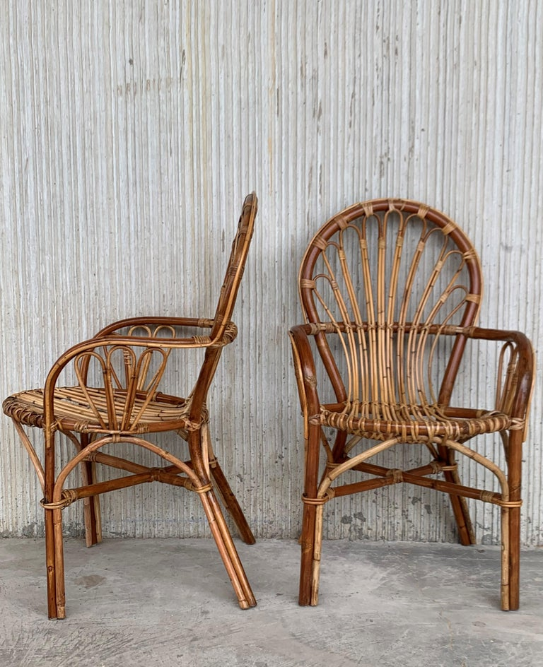 Midcentury of bamboo and wicker armchairs in Franco Albini style, Italy, 1960s.