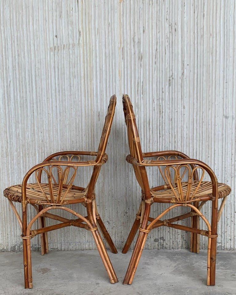 Mid-Century Modern Midcentury of Bamboo and Wicker Armchairs in Franco Albini Style, Italy, 1960s For Sale