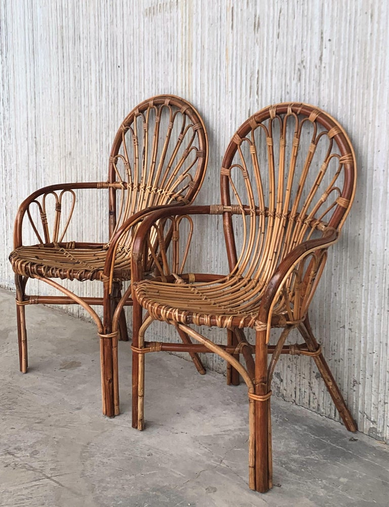 Italian Midcentury of Bamboo and Wicker Armchairs in Franco Albini Style, Italy, 1960s For Sale