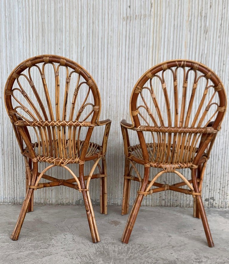 20th Century Midcentury of Bamboo and Wicker Armchairs in Franco Albini Style, Italy, 1960s For Sale