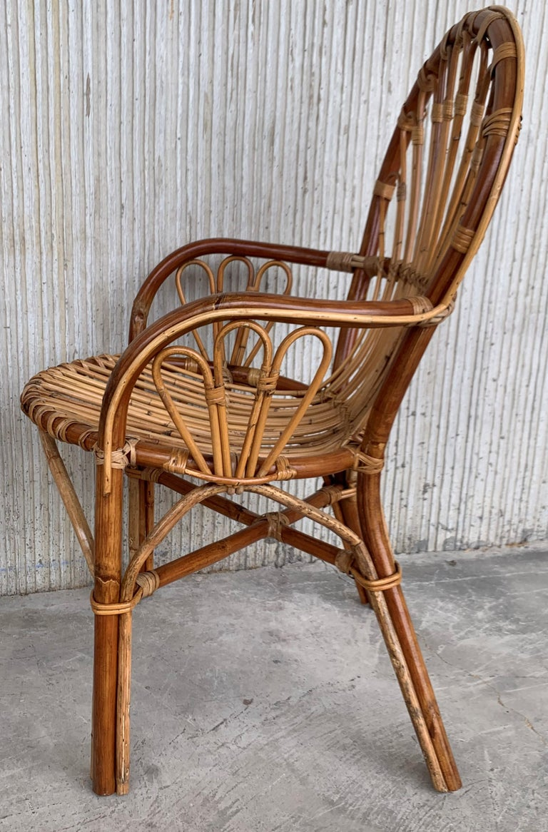 Midcentury of Bamboo and Wicker Armchairs in Franco Albini Style, Italy, 1960s For Sale 2