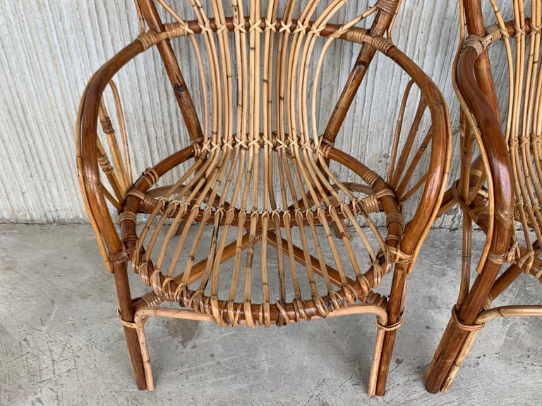 Midcentury of Bamboo and Wicker Armchairs in Franco Albini Style, Italy, 1960s For Sale 3