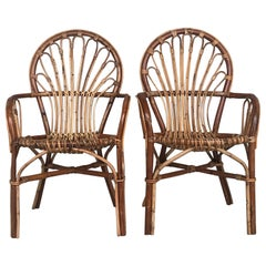 Midcentury of Bamboo and Wicker Armchairs in Franco Albini Style, Italy, 1960s