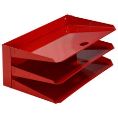 Midcentury Office Mail Organizer, Refinished in Red