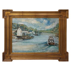 "Midcentury Oil on Board ""Lynn Haven"" by J Winston Lawler"