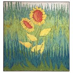 Midcentury Oil on Canvas of Sunflowers