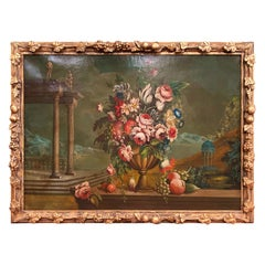 Midcentury Oil on Canvas Still Life Painting in Carved Gilt Frame