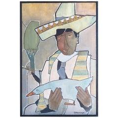 """Midcentury Oil on Canvas Titled """"Rarebird"""""""