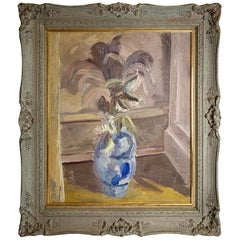 Midcentury Oil Painting in Blues and Beige