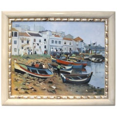 Midcentury Oil Painting of French Port by Artist Tanguy Le Roy