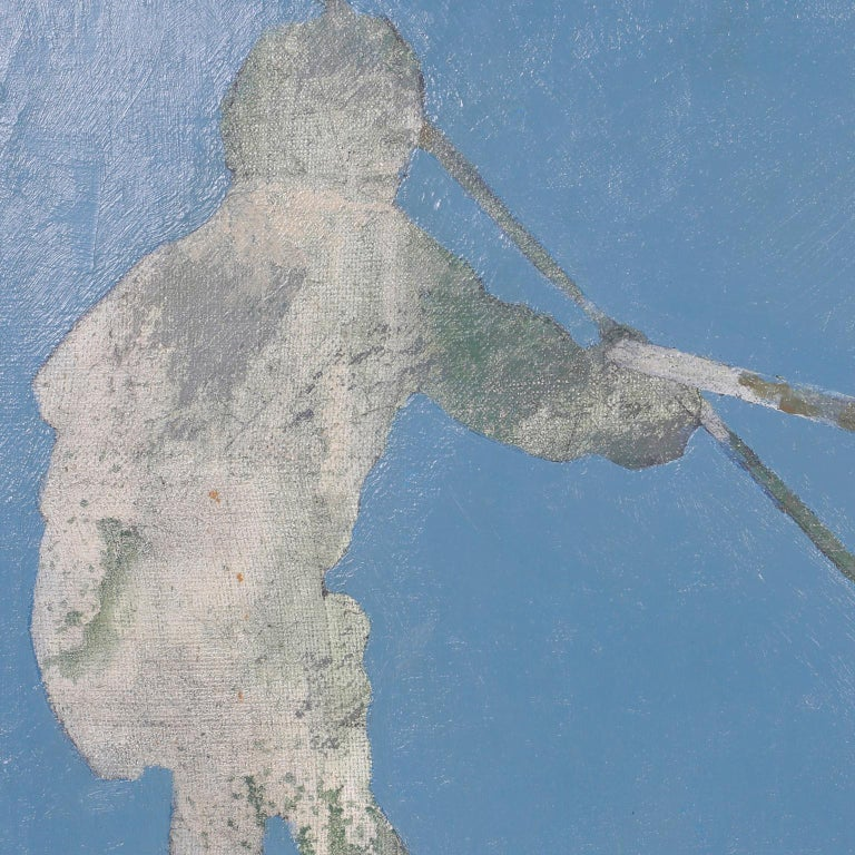 20th Century Midcentury Oil Painting on Canvas of Boys Fishing For Sale