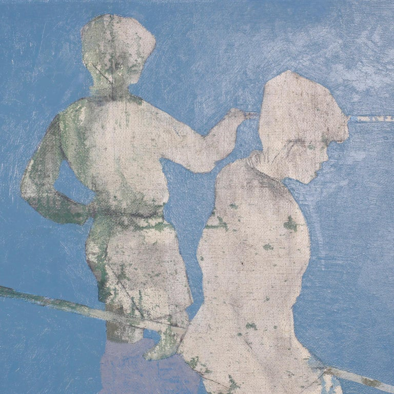 Midcentury Oil Painting on Canvas of Boys Fishing For Sale 1