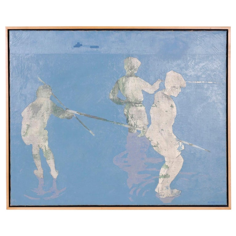 Midcentury Oil Painting on Canvas of Boys Fishing For Sale
