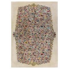 Midcentury Olga Fisch Caceria 'The Hunt' Multicolored Carpet on Beige Background