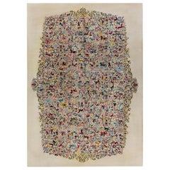 Midcentury Olga Fisch Colorful Carpet Caceria 'The Hunt'