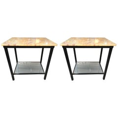 Midcentury Onyx Top Iron Side Table with Mirror Base, Pair