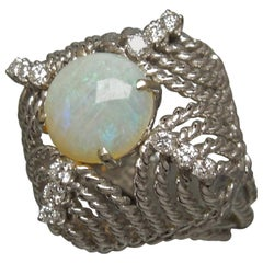 Midcentury Opal Cathedral Dome Ring