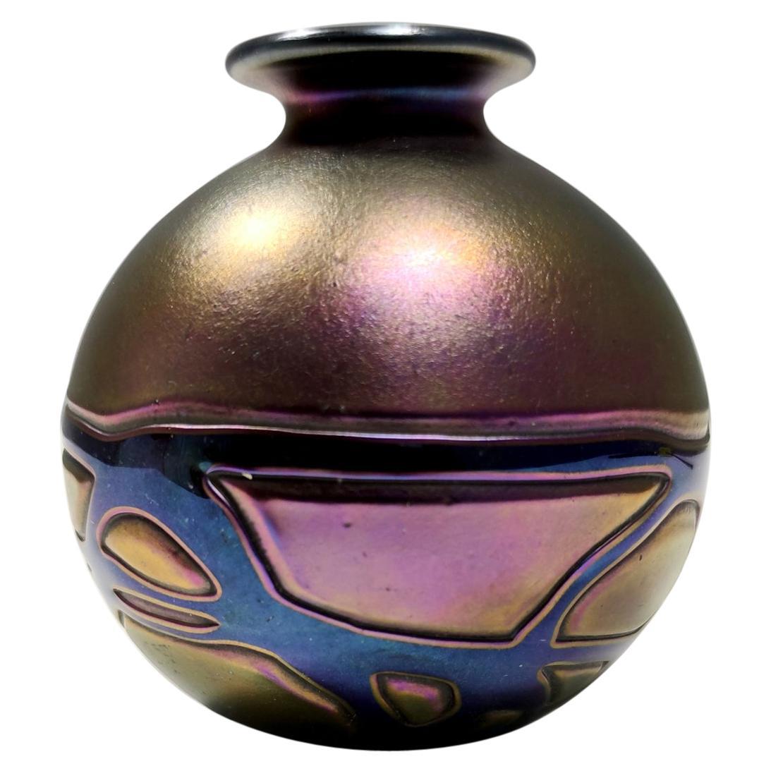 Midcentury Opalescent Mdina Glass Vase from Malta