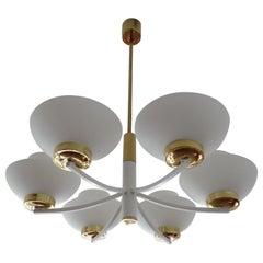 Midcentury Opaline Glass and Brass Chandelier Pendant Light, White, Stilnovo Era