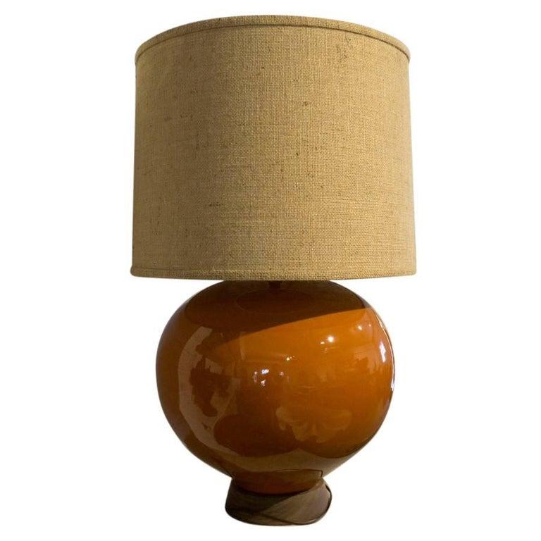 Midcentury Orange Ceramic Lamp With Wood Base For