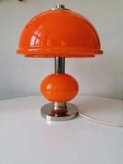 Midcentury Orange Glass Table or Desk Lamp