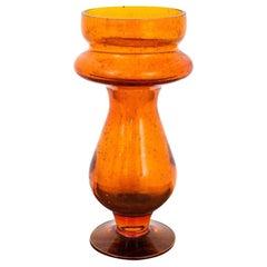 Midcentury Orange Glass Vase, Barbara Glassworks, Poland