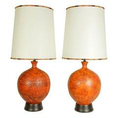 Mid Century Orange Iron Oxide Glaze Ceramic Orb Lamps by Feldman & Co.