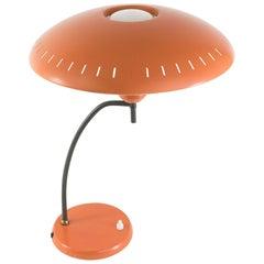 Midcentury Orange Metal Table Lamp by Louis Kalff for Philips, 1950s