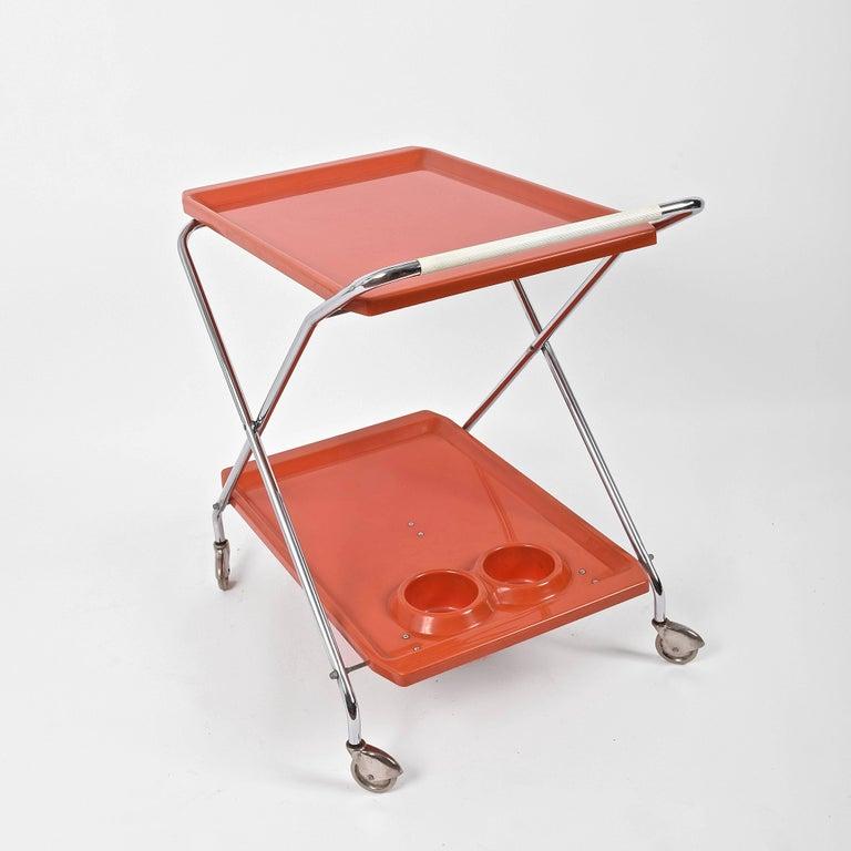 Midcentury Orange Plastic and Chromed Metal Italian Bar Folding Cart, 1950s For Sale 5