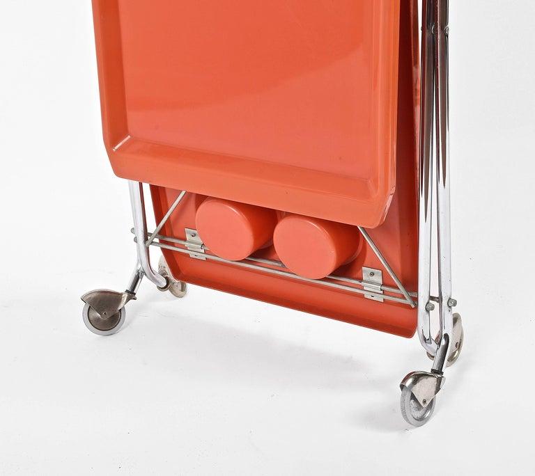 Midcentury Orange Plastic and Chromed Metal Italian Bar Folding Cart, 1950s For Sale 6