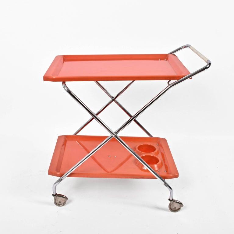 Mid-Century Modern Midcentury Orange Plastic and Chromed Metal Italian Bar Folding Cart, 1950s For Sale
