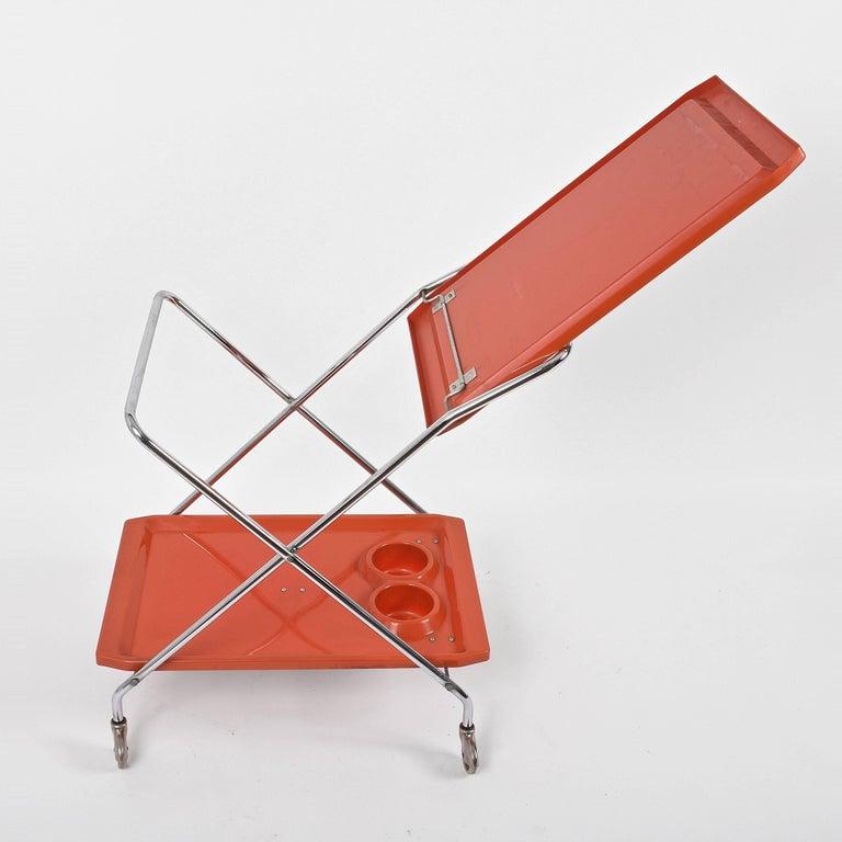 Mid-20th Century Midcentury Orange Plastic and Chromed Metal Italian Bar Folding Cart, 1950s For Sale