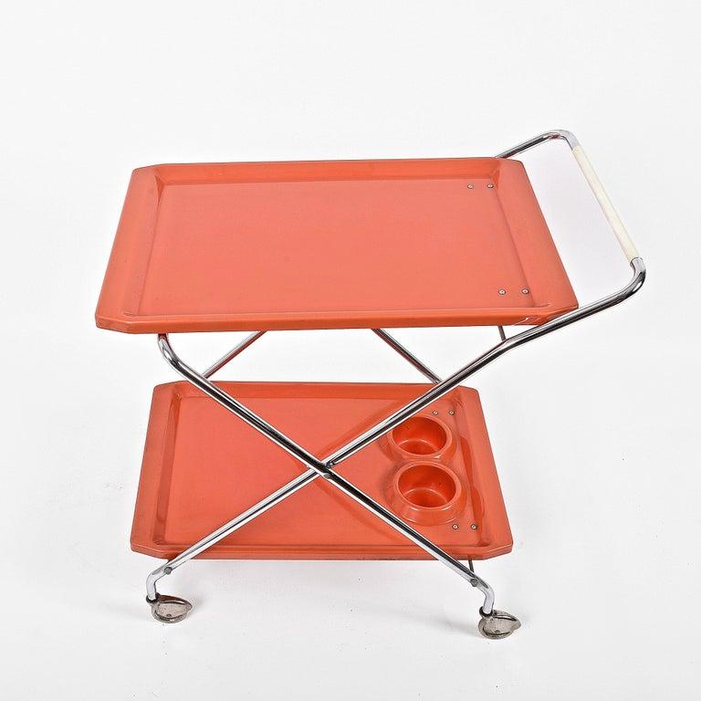 Midcentury Orange Plastic and Chromed Metal Italian Bar Folding Cart, 1950s For Sale 1