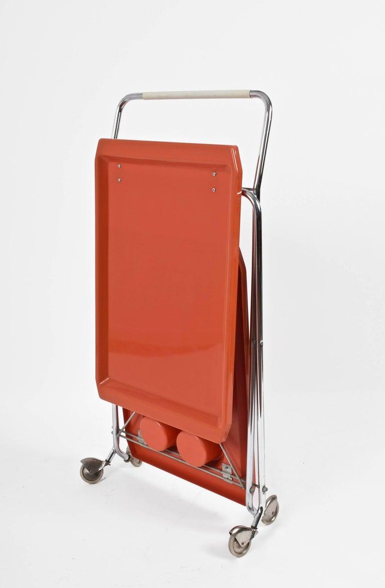 Midcentury Orange Plastic and Chromed Metal Italian Bar Folding Cart, 1950s For Sale 2