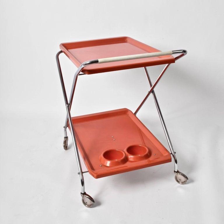 Midcentury Orange Plastic and Chromed Metal Italian Bar Folding Cart, 1950s For Sale 3