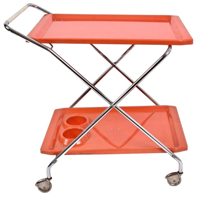 Midcentury Orange Plastic and Chromed Metal Italian Bar Folding Cart, 1950s For Sale
