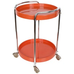 Midcentury Orange Plastic and Metal Chrome Round Italian Bar Cart, 1950s